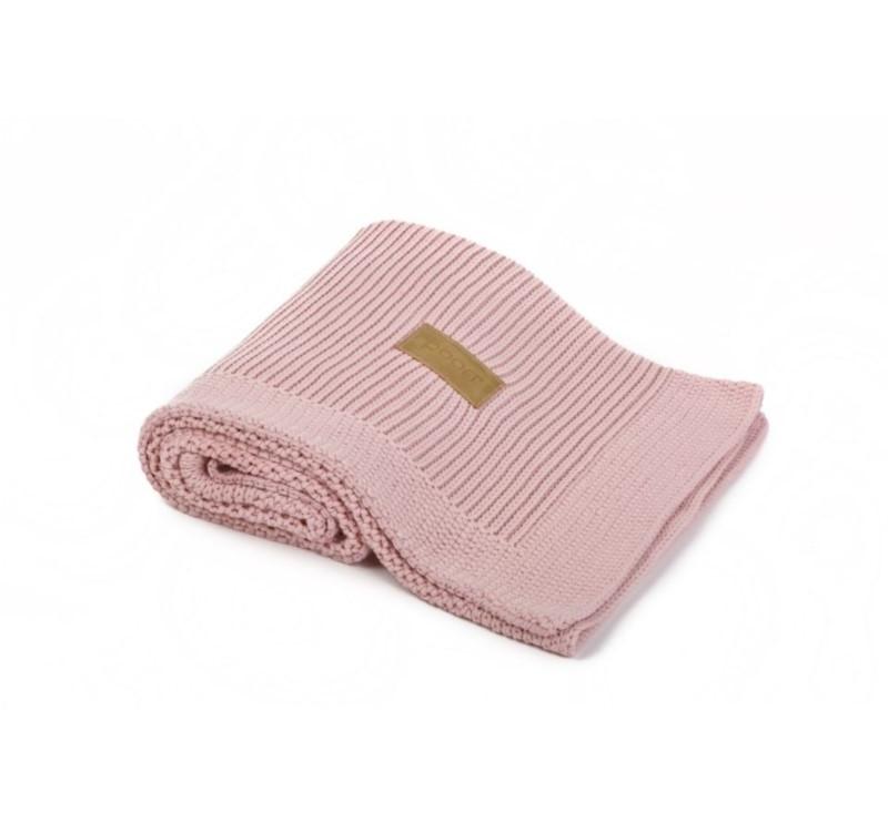 Kocyk tkany z bawełny organicznej - kolor vintage pink różowy - 75x90cm - Poofi