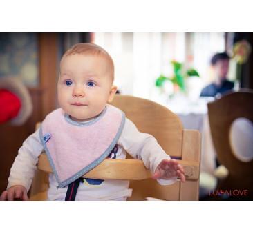 SupeRRO baby eco różowy- śliniak z drewnianym gryzakiem - LullaLove