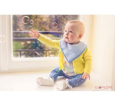 SupeRRO baby eco niebieski- śliniak z drewnianym gryzakiem - LullaLove