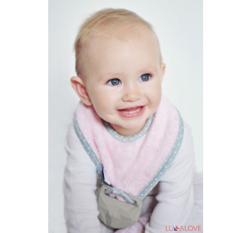 SupeRRO baby hevea pink- śliniak z kauczukowym gryzakiem - LullaLove