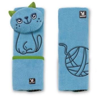 Benbat - zestaw podróżny Kot 1-4 lata - poduszka rogal + osłonki na pasy