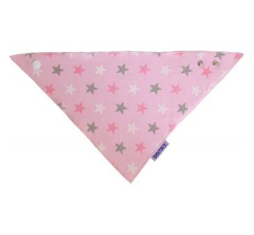 DOOKY - Chustka, śliniak, bandamka Dribble Bib - Pink Stars